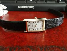 Vintage Tissot 14K Gold Tank Watch Roman Dial w/ 13mm Tissot Leather Band!
