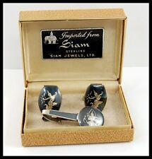 Vintage SIAM STERLING Silver Asian Niello Cufflinks & Tie Clasp & Hard Shell Box