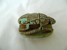 """Egyptian Scarab Lime Stone Symbol Of Luck  3.25"""" X 2.25"""" Handmade Turquoise #9.5"""