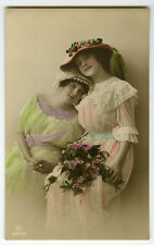 c 1913 Lovely Young BEAUTY PAIR Fashion Lady pinup photo postcard