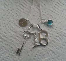 Sterling Silver Personalised 16th Birthday Necklace Silver Initial Charm