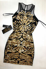 NWT Bebe black gold sequin deep v neck mesh sparkle mesh top dress M Medium 6 8