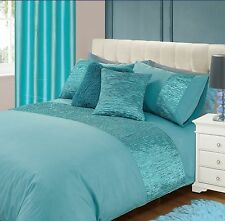 DUCK EGG BLUE FAUX SILK CRUSHED PANEL DETAIL MODERN KING SIZE DUVET COVER SET