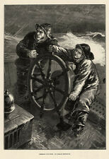Steering for Home, Boy & Dad at Helm in Gale H Petherick 1876 Nautical Art Print