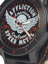 Affliction Speed Metal Winged Skull Leather Band Mens Watch Black Red $225 NEW