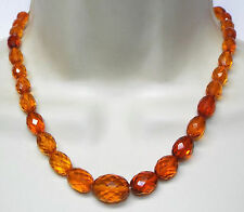 Vintage faceted AMBER bead NECKLACE beaded over 17 inches long 20 grams