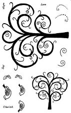 Unmounted Rubber Stamps Swirly Trees - 5069