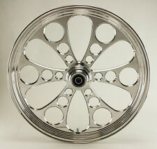 "Ultima Polished Kool Kat CNC 21"" x 3.5"" Front DD Wheel for Harley/Custom Models"