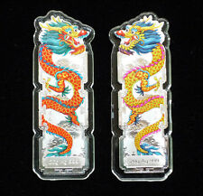 2 Chinese 2014 Year Dragon Colored Silver Bars Set——free shipping