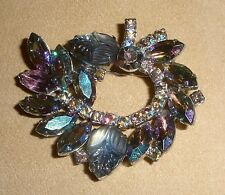 Beautiful D&E Juliana Pin in Smoky Rhinestones with Molded Glass Accent Stones
