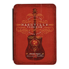 Nashville Guitar Red Music Rock iPad Mini 1 2 3 PU Leather Flip Case Cover