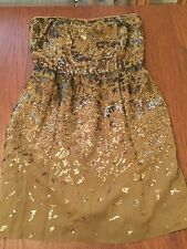 Woman's BCBG Max Azria Atalaya Silk & Sequin Olive Green & Bronze Party Dress S