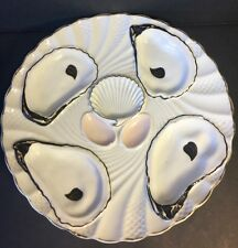 Vintage Oyster Plate 4 Scallop Scalloped Gold Edge Hand Painted Numbered 289