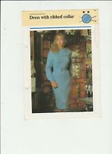 Vintage Knitting Pattern, Ladys Dress with Ribbed collar, 32-38in, fol 16