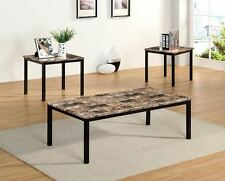 The Room Style 3Pc Faux Marble Black Metal Base Coffee & End Table Set