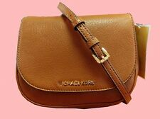 MICHAEL KORS BEDFORD Luggage Brown Leather Flap Cross-Body Bag Msrp $158.00