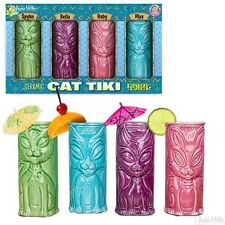 Cat Tiki Mug Set of 4 by Accoutrements - 12615