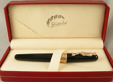 Stipula David Black & Rose Gold Rollerball Pen In Box - NEW -Italy- $175 MSRP