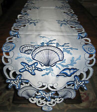"Nautical Decor Beach Seashell Starfish Table Runner Embroidered Cutwork 68""x 13"""