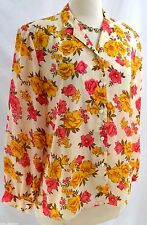 GH Garden House Paris blouse button chiffon Top floral shirt light SZ M NEW VTG