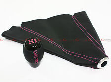 M10 X 1.5 BLACK LEATHER JDM SHIFT KNOB W/ PINK STITCHING+ LEATHER BOOT FOR ACURA