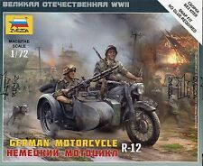 Zvezda 1/72 Figures - German Motorcycle R-12 + Soldiers Z6142