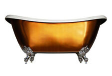 PHOENIX MIRROR COPPER BATEAU SLIPPER ROLL TOP BATH  WITH WASTE PLUG