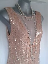 Vtg 1920,s style Gatsby sexy nude pink silver sequin mini flapper dress sze 12