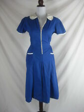 Vtg 30s 40s Blue Cotton Vintage Womens House Day Dress W 36