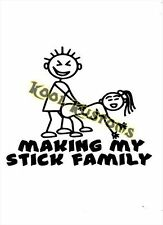 VINYL DECAL STICKER MAKING MY STICK FAMILY....FUNNY...CAR TRUCK WINDOW