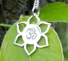 Yoga Jewelry Lotus Ohm Pendant Charm for Necklace 925 Pure Sterling Silver