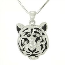 Tiger Wild Animal W Swarovski Crystal Silver Finish New Pendant Necklace Gift