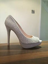 NEXT Stunning Sexy Grey Crystal Sparkle Peep Toe High Heels Shoes Size 41 UK 7