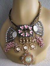 BETSEY JOHNSON VINTAGE BOHO BUCKLE FLOWER & CRYSTAL STATEMENT NECKLACE~NWT