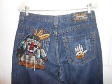 "Men's Miskeen Jeans Embroidered Native American Skull Jeans 32""x32"""