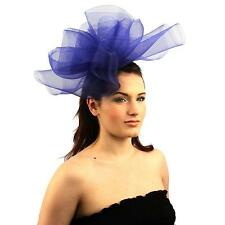 Fancy Kentucky Derby Tulle Headband Comb Fascinator Millinery Cocktail Hat Blue