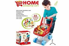 KIDS RED SHOPPING TROLLEY CHILDRENS ROLE PLAY SUPERMARKET WITH FOOD ACCESSORIES
