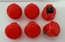 Japan Sanwa Clear Red Push Buttons x 6 pcs OBSC-30-CR Video Game Arcade Parts