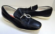 Prada 39 8.5M Navy Blue Leather Toggle Sneakers Loafers Italy