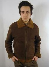 VINTAGE MENS CLASSIC WARM FLEECE LINED LEATHER AIRFORCE STYLE FLYING JACKET S