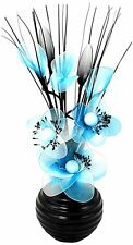 Flourish Black Vase with Blue and White Nylon Artificial Fake Flowers Ornament