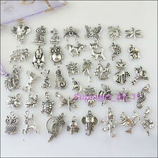 40Pcs Mixed Tibetan Silver Animals Charms Pendants Butterfly Spider Dragon etc.