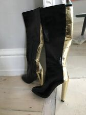 NEW Pierre hardy Patent Leather Boots Gold And Black RRP £420