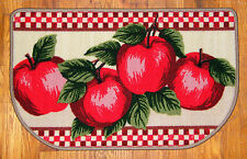 """Country Big RED APPLES Gingham Check Kitchen Slice Rug Accent Floor Mat 17""""x28"""""""
