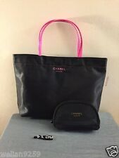 Auth Chanel Beaute 3pcs VIP Gift Set Tote Shopper Bag Mesh Makeup Bag Hair Tie