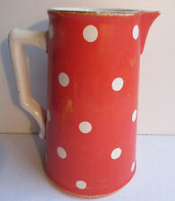 French red jug with white dots, Pitcher signed Sarreguemines model Confetti