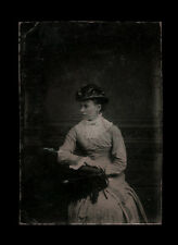 1880s Tintype Elegant Young Woman Looking Off Camera Pose, Fine Hat, 3 1/2""
