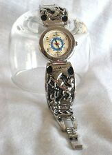 DEJUNO BRAND*SILVER TONE METAL BAND WESTERN HORSE WATCH*SHOWER PROOF*JAPAN MOVMT