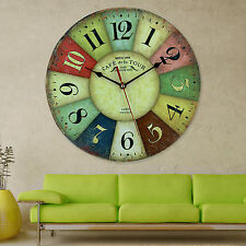 Chic Wooden Large Retro Paris Multicoloured Vintage Style Giant Wall Clock 30CM