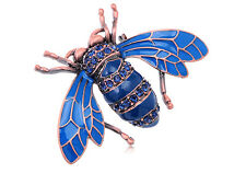 Antique Enamel Sapphire Crystal Rhinestone Brooch Beetle Insect Brass Pin Brooch